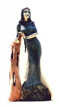 heilige-barbara-figur-keramik-blau-mit-turm