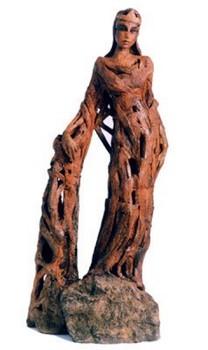 heilige-barbara-skulptur-keramik-geflochtener-stil