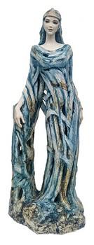 heilige-barbara-figur-keramik-blau-geflochtener-stil